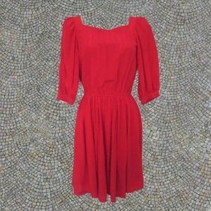 1980s vintage red silk dress short dresses size xs